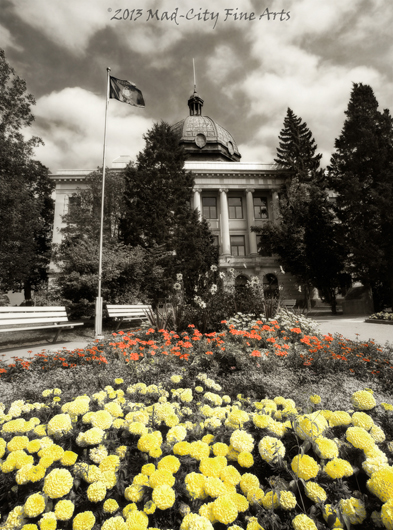 Colorful flowers bloom in front of the Oneida County Courthouse in Rhinelander, Wi.