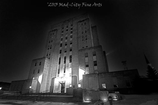 The art-deco Racine County courthouse at night.